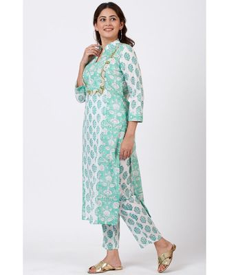 Mint Blue Block Printed Straight Kurti with Straight Pants