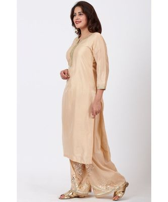 Champagne Gold Tree Gotta Embroidered Kurti with Embroidered Straight Palazzos