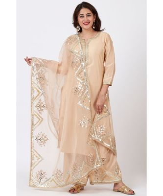 Champagne Gold Tree Gotta Embroidered Kurti with Embroidered Straight Palazzos and Orgnaza Gotta Embroidered Dupatta