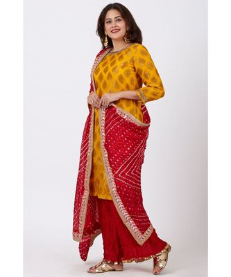 Mangal Mustard Banarsi Kurti With Crushed Silk Palazzos and Bandhani Dupatta