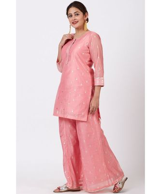 Rose Pink Foil Printed Kurti with Flared Palazzo