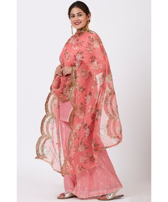 Rose Pink Foil Printed Kurti with Flared Palazzo and Floral Sequence Embroidered Organza Dupatta