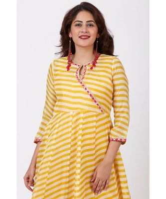 Mustard Leheriya Floorlength Kurti with Printed Border