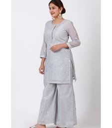 Magical Gray Foil Printed Kurti with Flared Palazzo