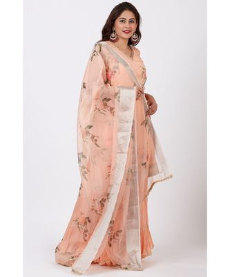 Apricot Printed Organza kurti With Crushed Ghararas with Printed Apricot Organza Dupatta