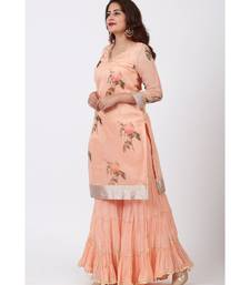 Apricot Printed Organza kurti With Crushed Ghararas