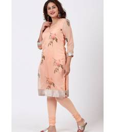 Apricot Printed Straight kurti with Churidar