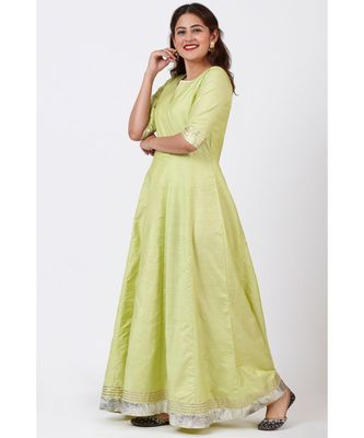 Pista Green Gotta Floor Length Silk Kurti Dress