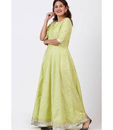 Pista Green Gotta Floor Length Silk Kurti Dress