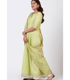 Pista Green Gotta Floor Length Silk Kurti Dress with Gotta Patti Floral Chiffon Dupatta