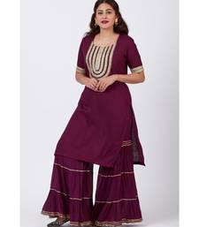 Plum Gotta Patti Embroided Kurti and Crushed Gharara