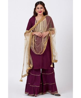 Plum Embroided Kurti Woth Crushed Gharara and  Gold Mirror Net Dupatta
