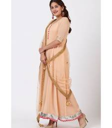 Peach Love Floor Length Anarkali Dress with Peach Mirror Work Dupatta