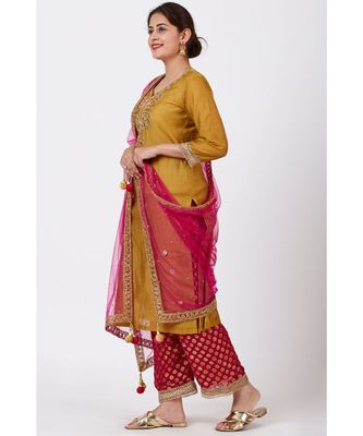 Mellow Mustard Gotta-Patti Embroidered Kurti with Straight Red Banarsi Palazzo and Pink Mirror Stone Dupatta