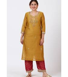 Mellow Mustard Gotta-Patti Embroidered Kurti with Straight Red Banarsi Palazzo