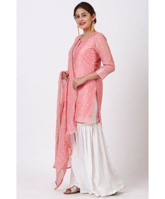 Rose Pink Foil Printed Kurti with Gathered Palazzo and Celeste Dupatta
