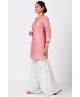 Rose Pink Foil Printed Kurti with Gathered Palazzo