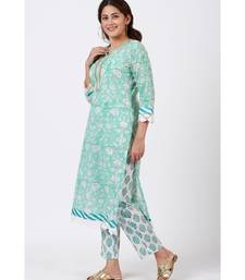 Blush Blue Block Printed Straight Kurti with Straight Pants