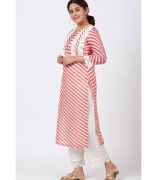 Pink Leheriya Crochet Straight Kurti with Crochet Pants