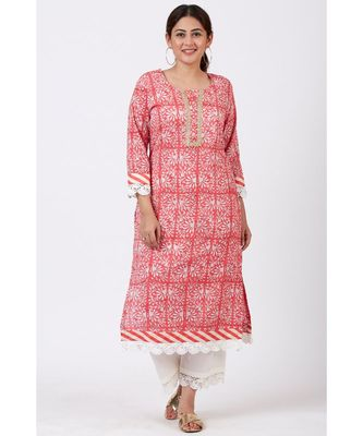 Raspberry Pink Floral Printed Kurti with Crochet Pants