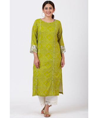 Green Bandhani Kurti with White Crochet Laced Pants