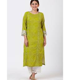Green Bandhani Kurti with White Crochet Laced Pants