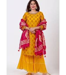 Mangal Mustard Banarsi Kurti With Crushed Sharara and Tie-Dye Foil Dupatta