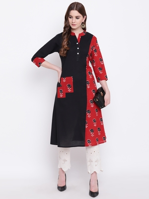Black printed cotton cotton-kurtis