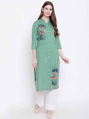 Green embroidered rayon ethnic-kurtis