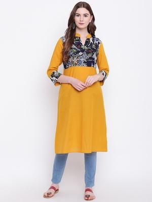 Mustard plain cotton cotton-kurtis