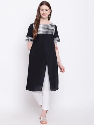 Black plain cotton cotton-kurtis