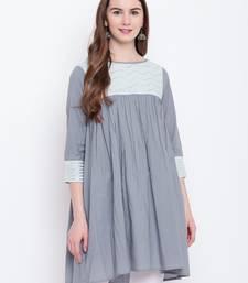 Grey plain cotton cotton-kurtis