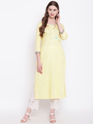 Yellow embroidered rayon ethnic-kurtis