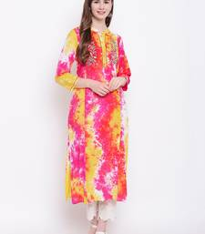 Pink embroidered rayon ethnic-kurtis