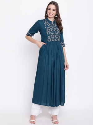 Blue embroidered rayon ethnic-kurtis