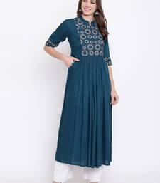 Blue embroidered rayon ethnic-kurtis