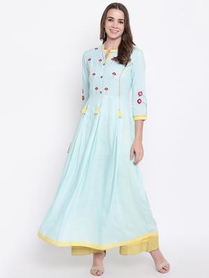 Aqua-blue embroidered rayon ethnic-kurtis
