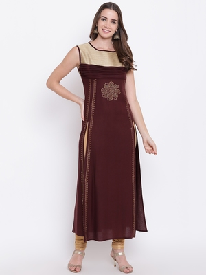 Brown plain cotton cotton-kurtis