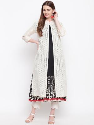 Off-white hand woven cotton cotton-kurtis