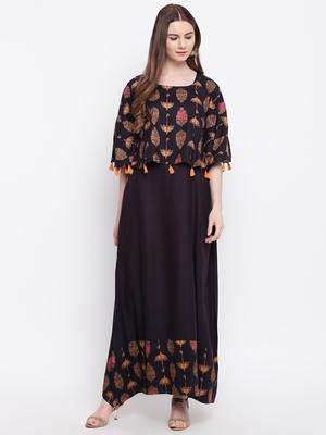Black printed rayon ethnic-kurtis