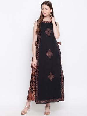 Black printed cotton cotton-kurtis