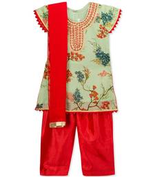 PRINTED EMBROIDRED NECK SALWAR SUIT WITH DUPATTA