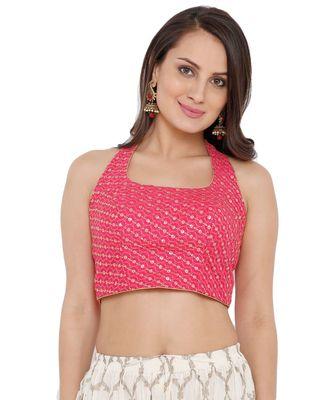 Women's Pink Silk Readymade Saree Blouse