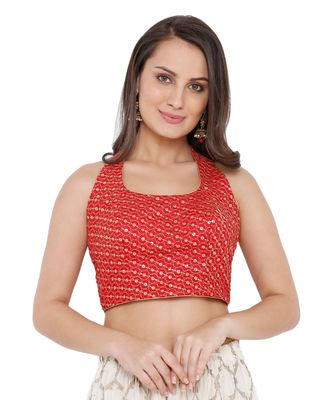 Women's Red Silk Readymade Saree Blouse