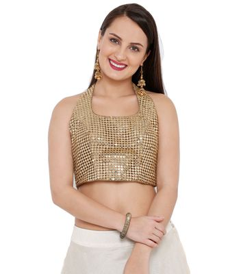 Women's Gold Sequence Readymade Saree Blouse