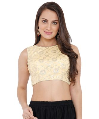 Women's Gold Georgette Readymade Saree Blouse