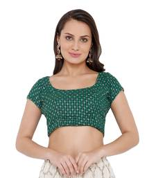 Women's Green Georgette Readymade Saree Blouse