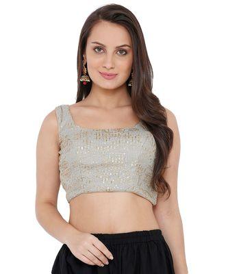 Women's Grey Silk Readymade Saree Blouse