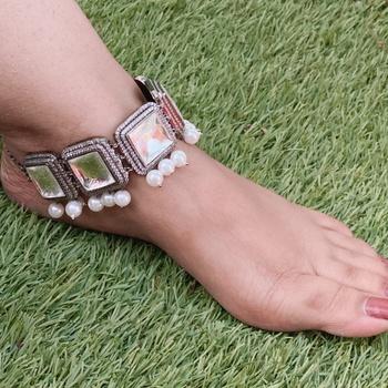 Victorian Silver Polki Inspired Anklet