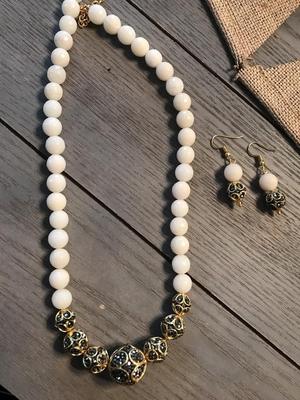 Black Gold Tone Meenakari And Pearl Necklace Set